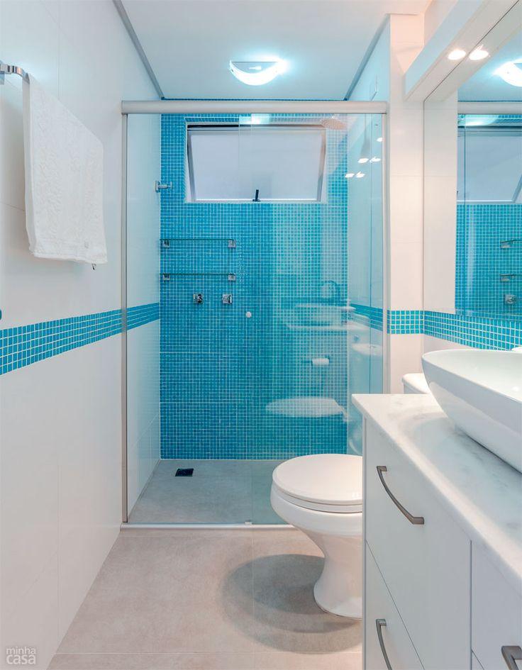 Cerâmica para banheiro azul e branco