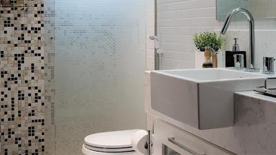 Cerâmica para banheiro bege preto e branco