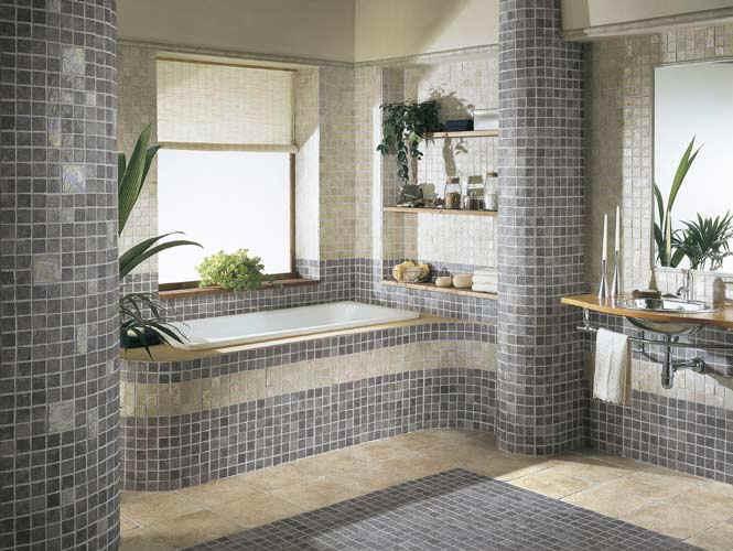 Cerâmica para banheiro cinza com plantas