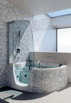 Cerâmica para banheiro cinza e granito