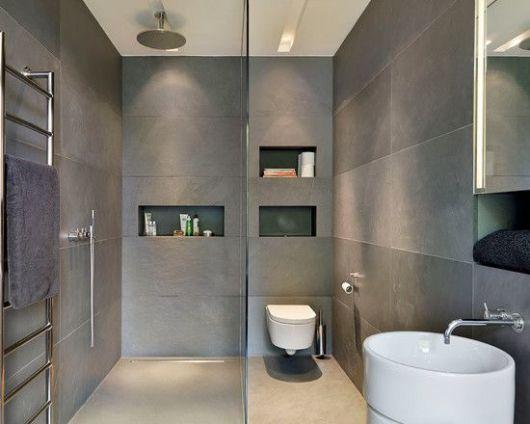 Cerâmica para banheiro cinza forte