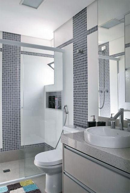 Cerâmica para banheiro cinza qudriculado