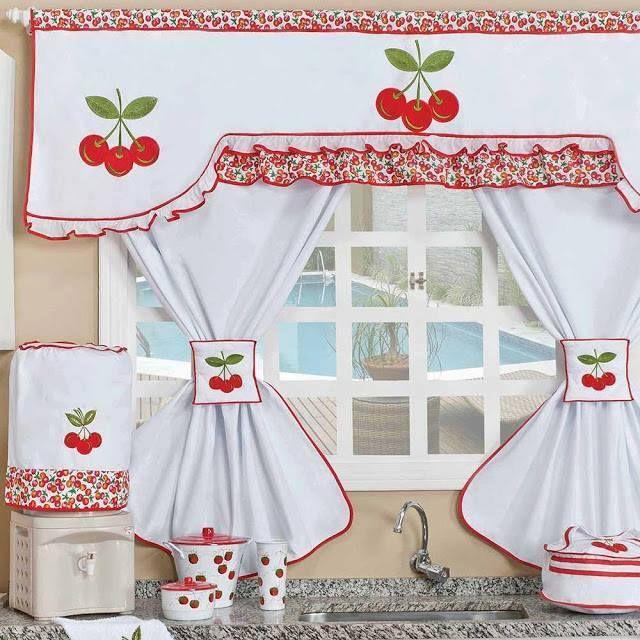 Cortinas para cozinha artesanal com cereja