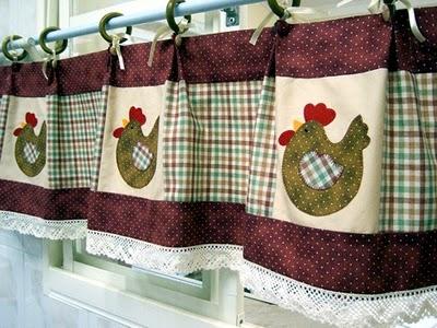 Cortinas para cozinha artesanal com galinha