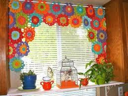Cortinas para cozinha de crochê em flores