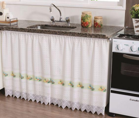 Cortinas para pia de cozinha branca