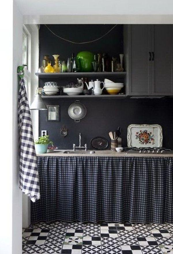 Cortinas para pia de cozinha xadrez