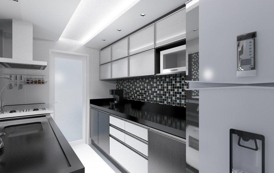 Cozinha planejada branca e preta