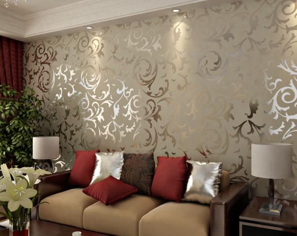 Decoração de parede com tecido para sala com reflexo