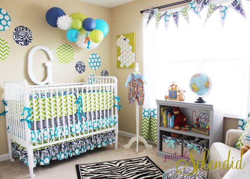 Decoração de quarto de bebe masculino com balões