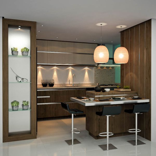 Decoração moderna de cozinha com boa iluminação