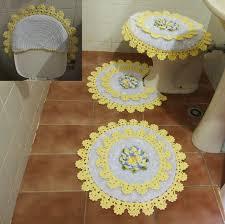 Jogo de banheiro de barbante amarelo