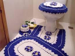 Jogo de banheiro de barbante azul