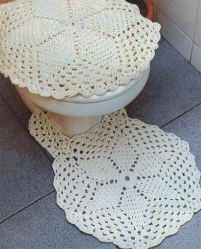 Jogo de banheiro de barbante bege