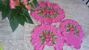 Jogo de banheiro de barbante rosa