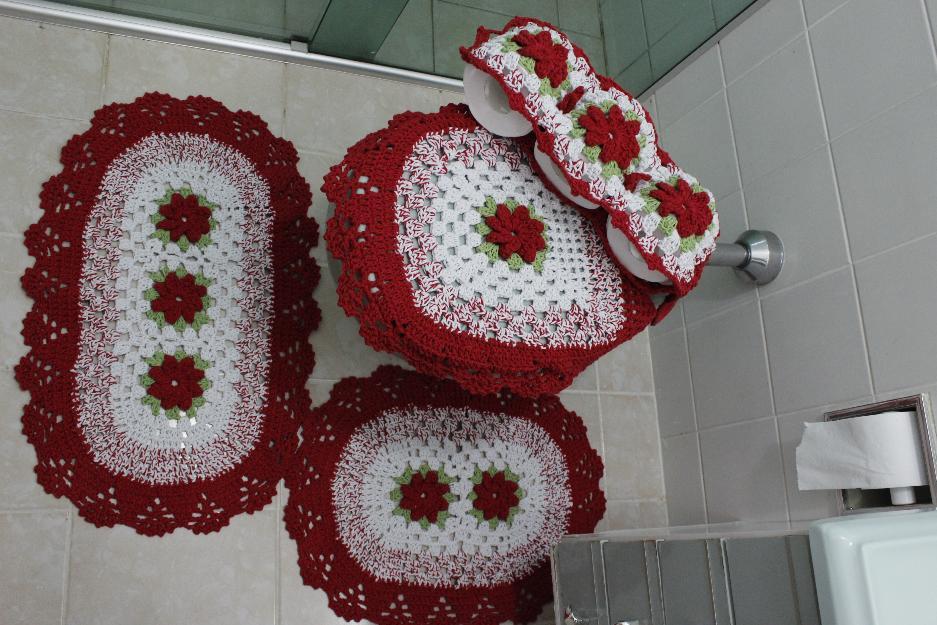 Jogo de banheiro de barbante vermelho