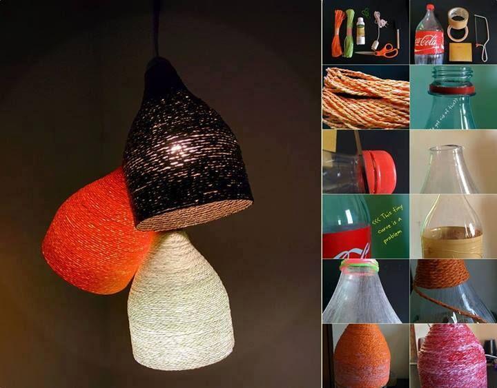 Luminária de barbante com garrafa pet