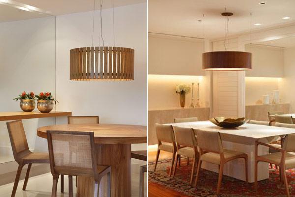 Lustres de madeira para sala de jantar