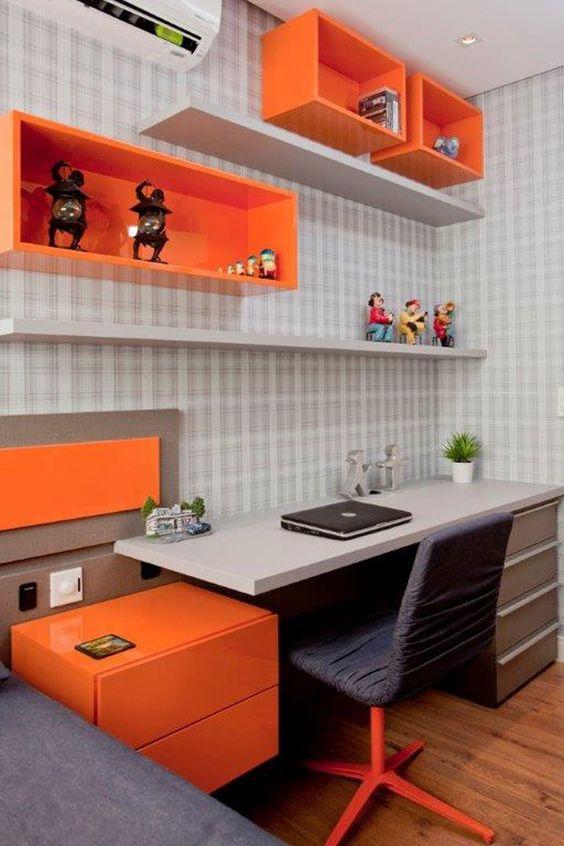 Nichos para quarto de solteiro laranja