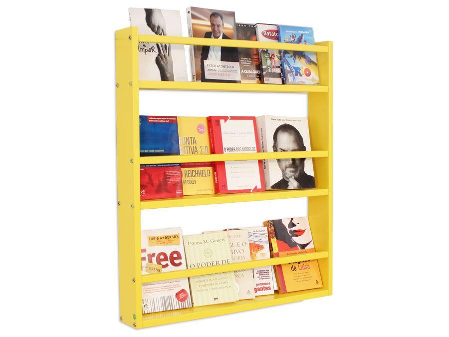 Prateleira para livros amarela