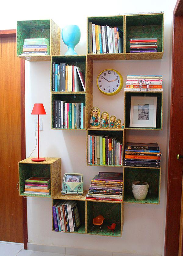 Prateleira para livros de madeira