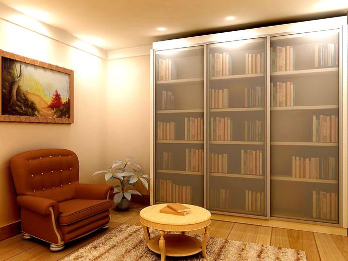 Prateleira para livros fechada