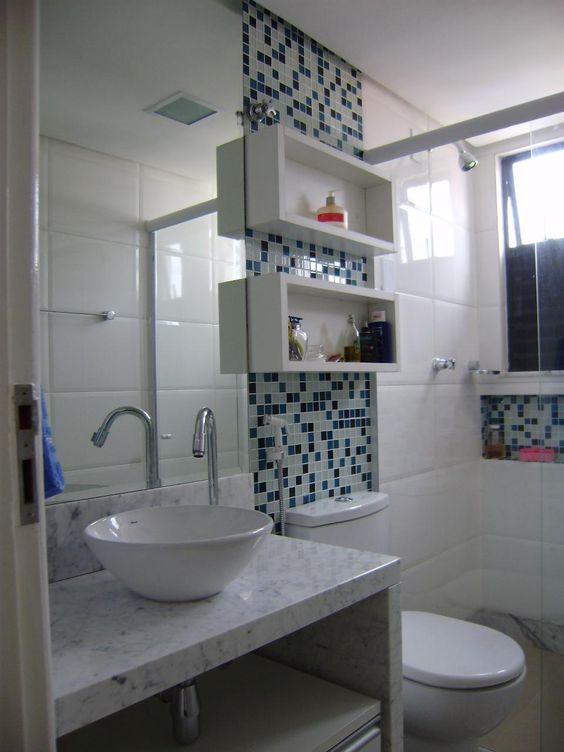 Revestimento para banheiro  30 ideias maravilhosas para você [ Fotos ] -> Banheiro Pequeno Revestimento