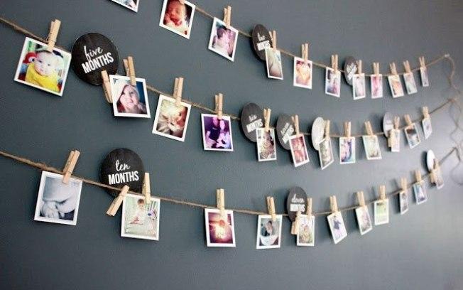 Varal de fotos aniversario infantil com fundo cinza