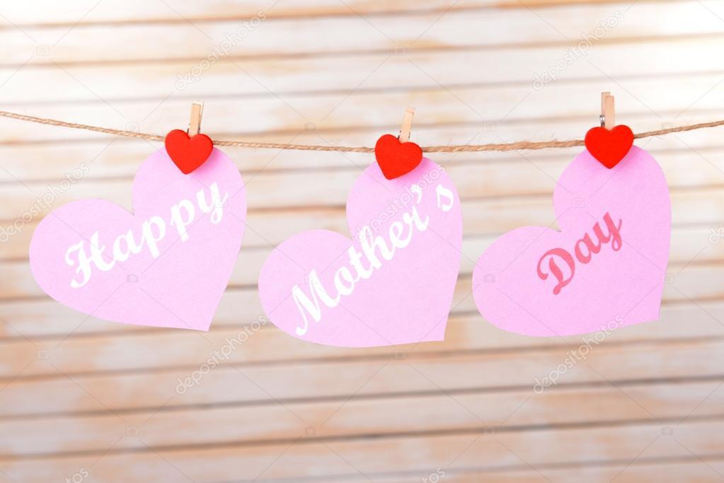 Varal de fotos dia das mães rosa