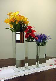 Vasos de vidro para decoração de casamento quadrados