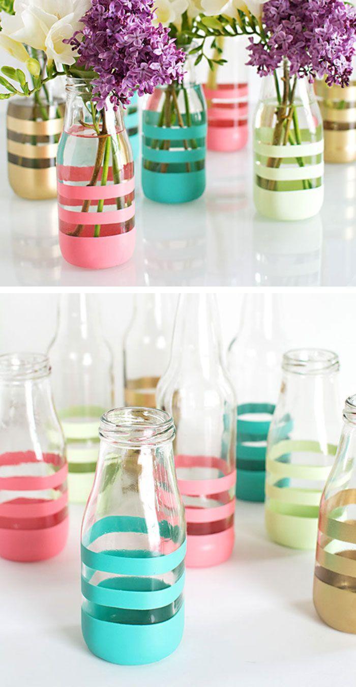 Vasos de vidro para decoração de festa