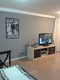 decoração de parede de sala com tinta cinza