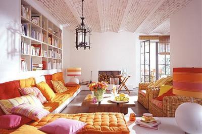 decoração de sala indiana almofadas