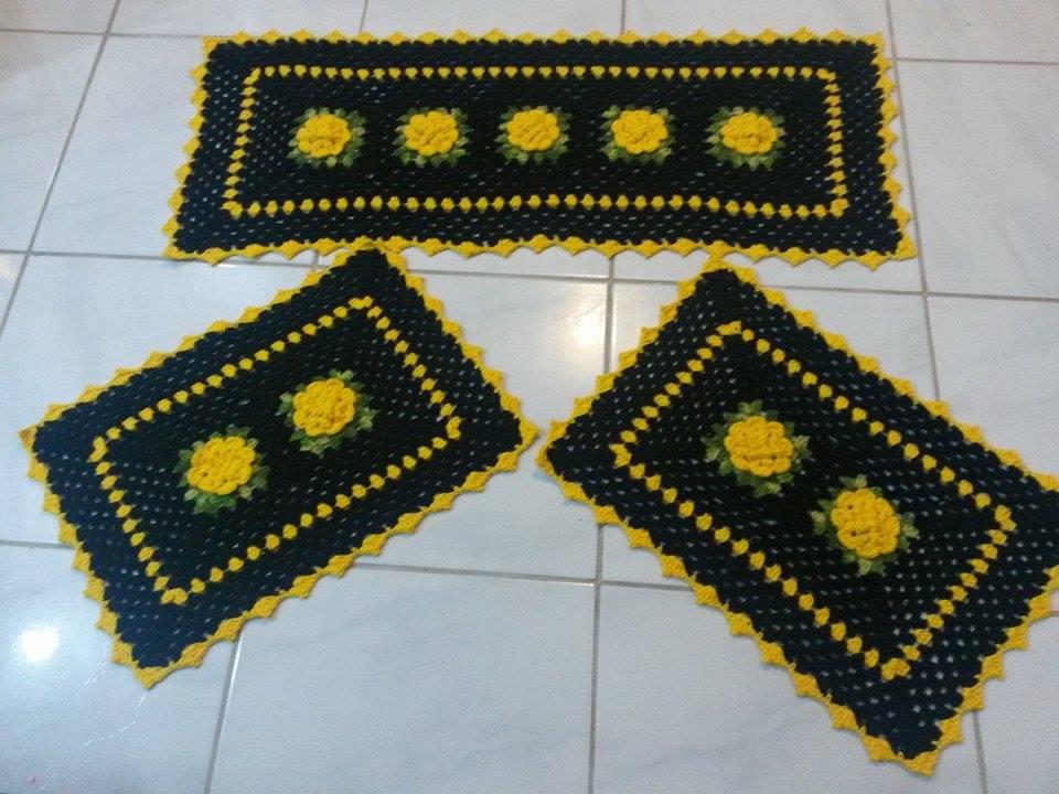 jogo de banheiro dual color em flores amarelas