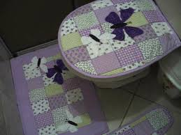 jogo de banheiro em tecido roxo