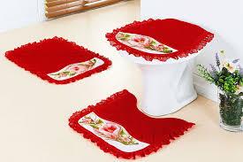 jogo de banheiro em tecido verelho