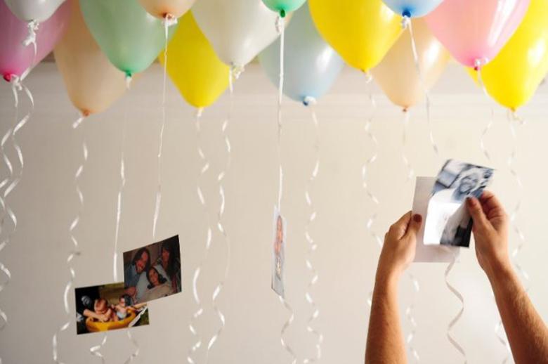 varal de fotos com baloes