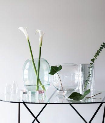 vasos de vidro redondo