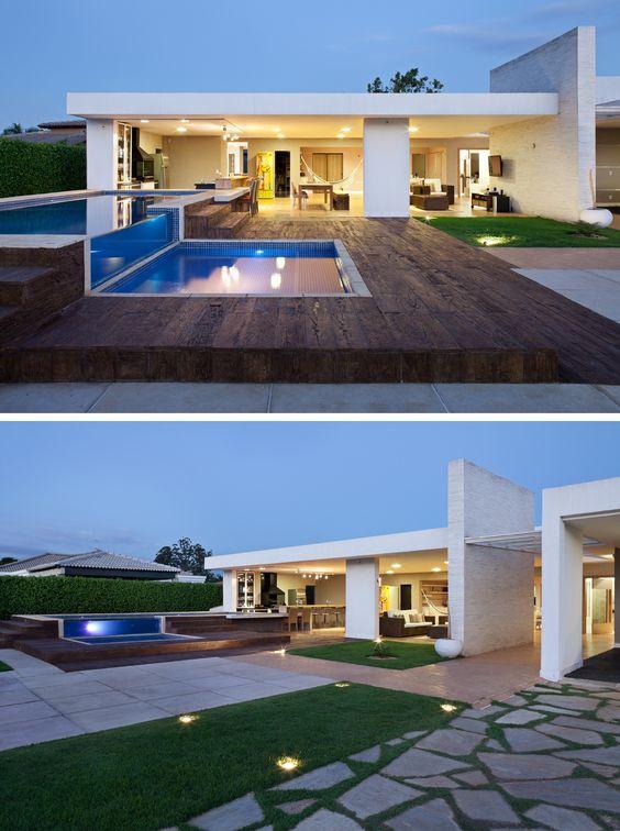 Muros modernos e baratos modelos de grades para casas for Piscinas super baratas
