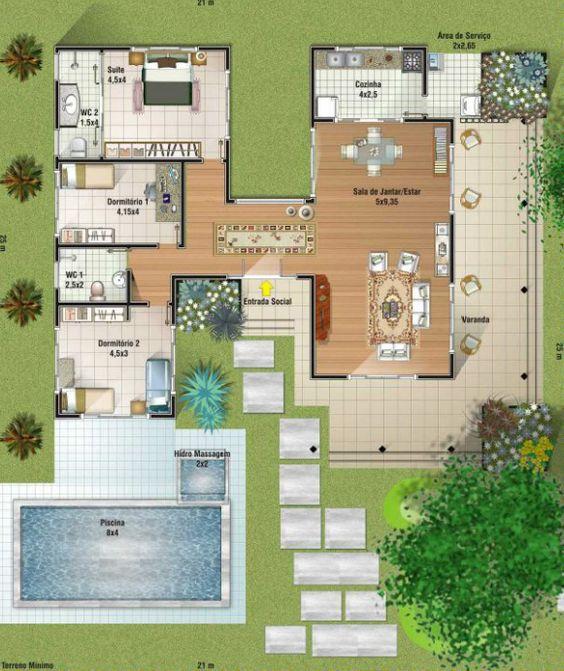 Casas modernas veja mais de 100 modelos projetos e for Casa moderna de 50 m2