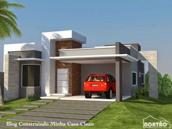 Casas modernas veja mais de 100 modelos projetos e for Casa moderna 2 andares 3 quartos