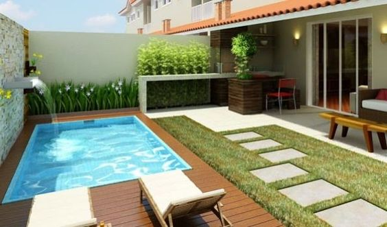 Casas modernas veja mais de 100 modelos projetos e Fotos de patios de casas pequenas