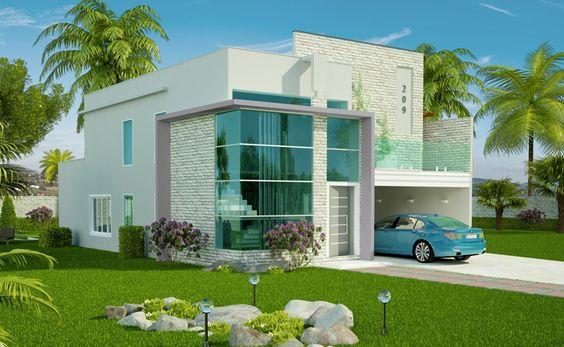 Casas modernas veja mais de 100 modelos projetos e for Casa moderna baratas