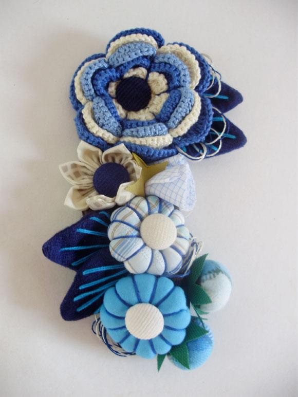 flores de croche e fuxico