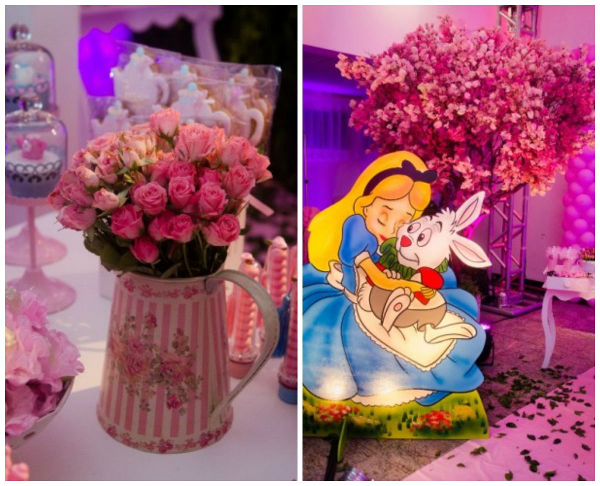 Arranjos de mesa Alice no pais das maravilhas com flores