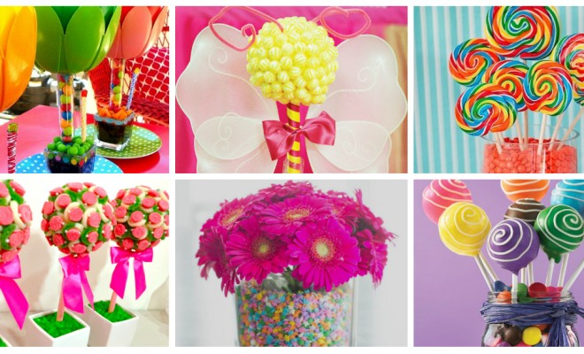 Arranjos de mesa aniversario infantil com cores