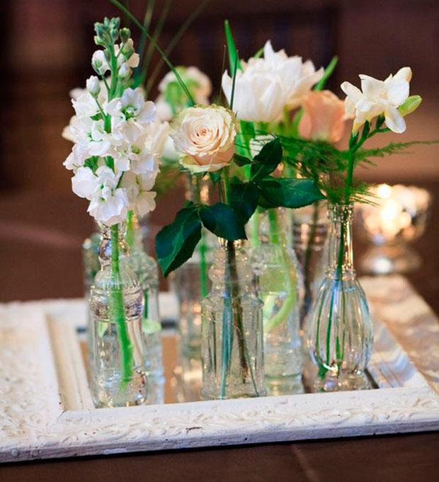 Arranjos de mesa artificiais para casamento