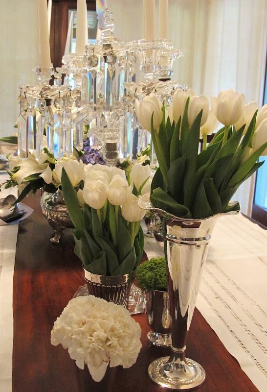 Arranjos de mesa batizado e vasos