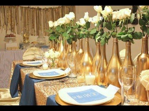 Arranjos de mesa bodas de ouro