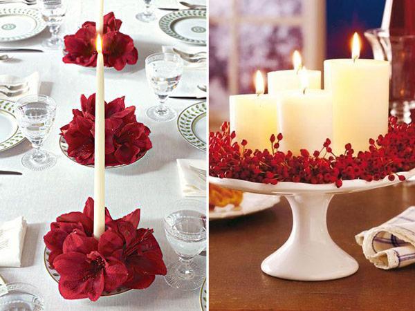 Arranjos de mesa com velas